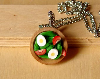 Fun Miniature Fake Food Jewelry - Sassy Tossed Salad Necklace - Mini Salad Necklace - Vegetarian Jewelry - Vegan Gift
