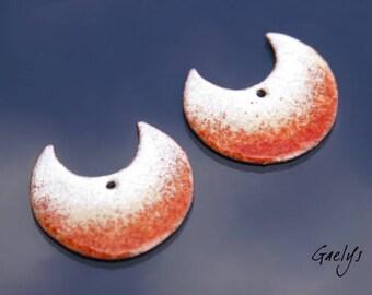 Emaux sur cuivre Gaelys - Paire de plaque cuivre émaillé pour boucles d'oreille - Ivoire / beige / écureuil