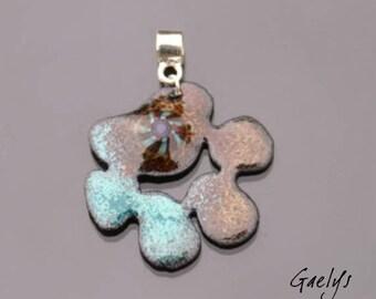 Papatte - pendentif émaille sur cuivre - montage argent - turquoise / café - murine - Emaux Gaelys