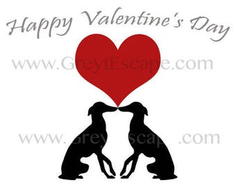 GREYHOUNDS KISS, Valentines Day card, Valentine card, sighthound valentine, greyhound card, note card, 10 pack, greyhound Valentine