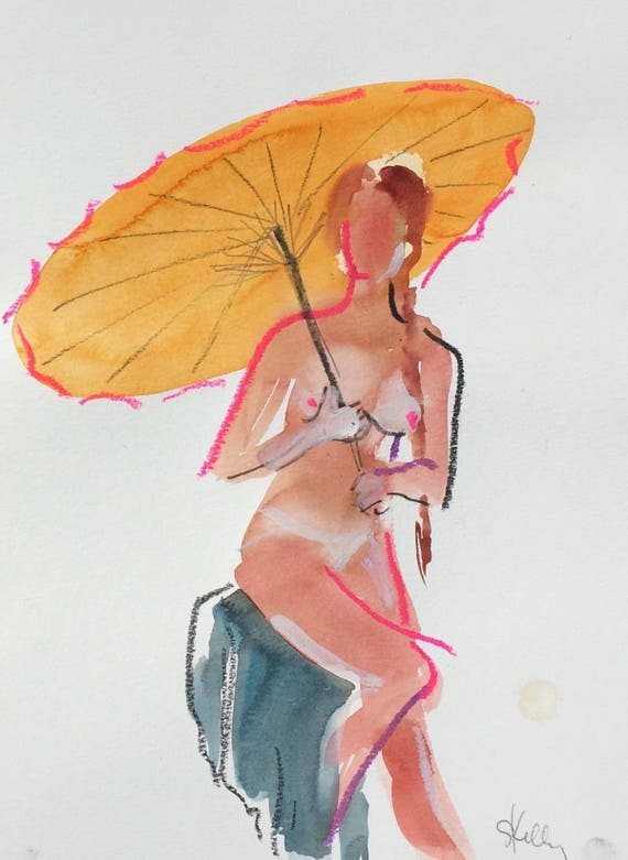 Nude painting- Original watercolor painting of Nude #1491 by Gretchen Kelly