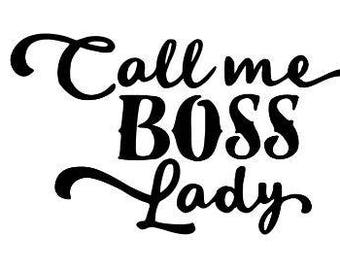 Call Me Boss Lady Vinyl Car Decal Bumper Window Sticker Any Color Multiple Sizes Mothers Day Jenuine Crafts