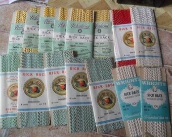 15 Vintage Packages of Baby Rick Rack trim - Size 13 - Colors are Yellow, lt Green, Whites and Red
