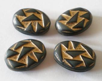 18x12 Smokey Gray Black Gold triangle oval etched czech glass beads