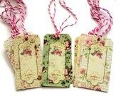 11 Gift Tags, French Florals , Cottage Chic, Pink White Cream Green Merchandise Tags, Party Favor Tags, Takuniquedesigns