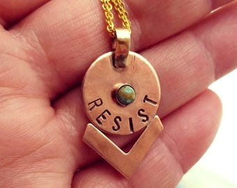 50%OFF RESIST Pendant, Hand Stamped, Copper Necklace, ACLU, Turquoise, Women's March, Feminist, Activist, Motivational