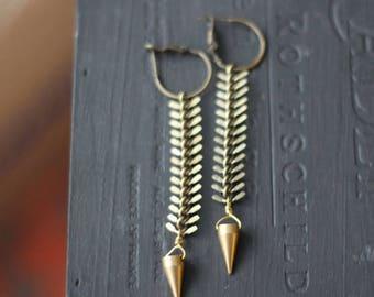 50%OFF Pendulum Earrings,  Brass Spike on Fish Bone Chain Dangles, Tribal, Industrial, Raw Gold Brass, Gift Box