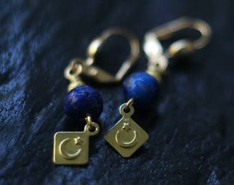 50%OFF Celestial Lapis Lazuli Earrings, Crescent Moon Dangles, Stars, Brass, Cosmic, Alchemy, Pagan, Magic, Boho Jewelry