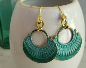 Ombre Mint and Teal Green Patina Earrings, Bohemian Dangles, Brass, Distressed, Aqua Green, Tropical, Summer Jewelry