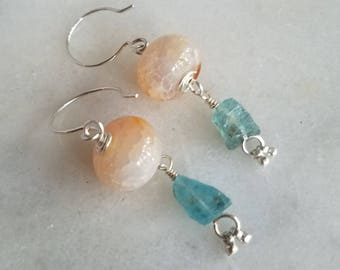 Apatite & Crab Agate Earrings, Sterling Silver Dangles, Aqua Blue, Peach Coral