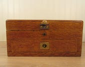 Beautiful old oak storage box with brass hardware hinged lid, no key, bottom drawer- weighty, solid, functional