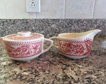 Sugar bowl with lid and creamer- Vintage Memory Lane Royal China- red on white design