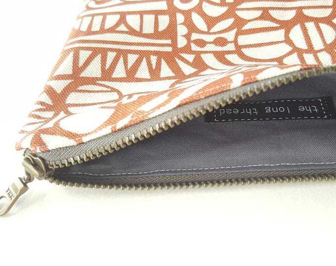 Zippered Pouch: Organic Screenprinted Fabric in Black