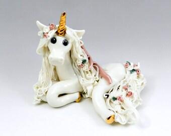 Unicorn Figurine Pink Roses Handmade OOAK Porcelain Clay