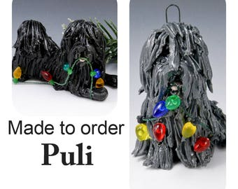Puli Dog PORCELAIN Christmas Ornament Figurine Made to Order