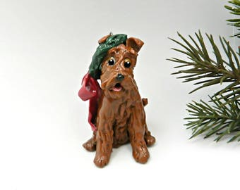 Irish Terrier Christmas Ornament Figurine Wreath OOAK Porcelain