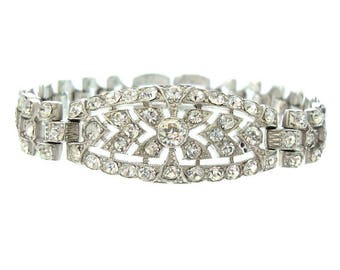 Art Deco Antique Bracelet, KTF Designer Deco Cuff, 1930 Fine Vintage Rhinestone Jewelry, Trifari, Krussman, Fishel Art Deco Jewelry