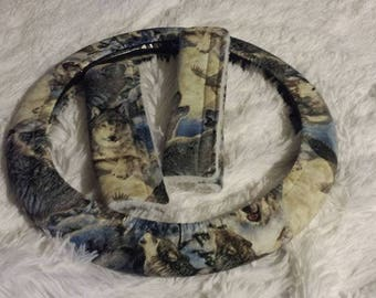 NEW! * Call of the Wild * Steering Wheel Cover * Seat Belt Cover * Timber Mates * Timber Wolf * Eagle * Better photo later!