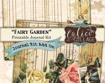 Printable, Journal Pages, Fairy Garden, Journal Kit, Add On Pages, Ephemera Pack, Journal Paper, Vintage Fairies, Butterfly Ladies