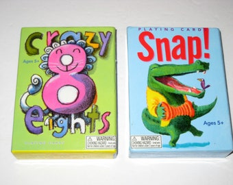 2 Chidren's Card Games - Snap, Crazy Eights -  Great Graphics for Scrapbooking, Tags, Crafting, etc.