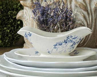 Vintage Lovely Old Aged French Blue And White Ironstone Gravy Boat