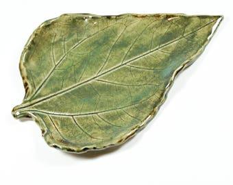 Ceramic Leaf - Spoon Rest - Ring Dish - Trinket Tray - Green Leaf Pottery