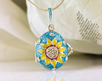 Locket Sunflower Jewelry Locket Egg w Heart Surprise Jewelry Necklace Sterling Silver Turquoise Enamel Pendant Gift for Her