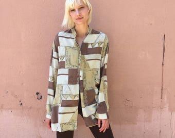 90s silk blouse / 1990s neutral minimalist print button down top / menocore style