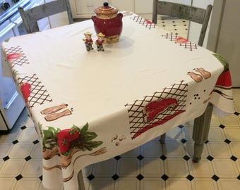 Vintage CHP Tablecloth Summer BBQ Steak on the Grill Watermelon