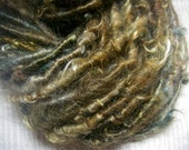 Handspun Corespun Hand Dyed Curly Mohair Locks in Brown Gold and Dark Green Art Yarn  by KnoxFarmFiber for Weaving Knitting Crochet