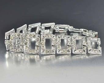 Vintage Rhinestone Bracelet, Art Deco Bracelet, 1930s Wedding Jewelry, Rhodium Silver Rustic Wedding Bracelet, Girlfriend Bridal Gift