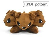 Cerberus Three-headed Dog Monster Fluffy Stuffed Animal Plush Sewing Pattern .pdf Tutorial