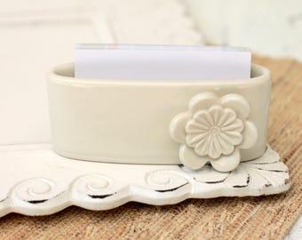 white business card holder