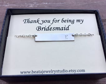 Bridesmaid Gift, Flower Girl Gift, Maid of Honor Gift, Mother of the Bride Gift, Mother in Law Gift,14kt Gold Filled Initial Bar Necklace,