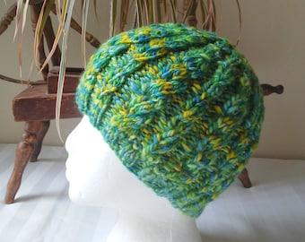 Handspun Cable Beanie. Green Variegated Knit Hat. Light Green. Dark Green. Yellow. Medium Blue. Light Blue. Knit Wool Hat. Beanies for Her.