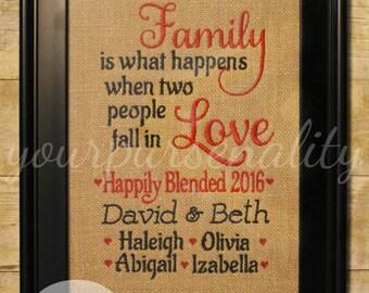 Blended Family Wedding Gift -- Stepmom Stepdad -- Wedding Gift -- Anniversary Gift -- Wedding Shower Gift -- Bride and Groom gift