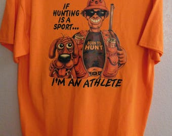 Mens T Shirt Funny Sayings If Hunting Is A Sport Im An Athelete Birthday Hunting Duck Hunting Animal Hunting For Him Bachelor Christmas XL