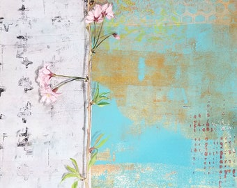 Willow blossom III - original mixed media on paper by Ingrid Blixt