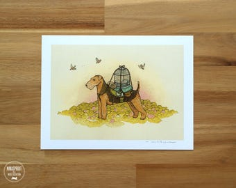 Airedale Adventure Pup - Fine Art Print by Nicole Gustafsson