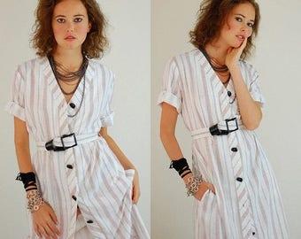 SALE 25% off sundays Striped Shirt Dress Vintage 80s Striped Draped Belted Indie Preppy Shirt Dress (m l)