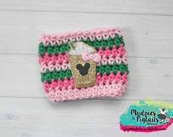Mouse Coffee Cup Cozy { Minnie Mouse Cup } pink, green gold, Summer Coffee frappuccino sleeve, stocking stuffer, birthday gift, rose gold