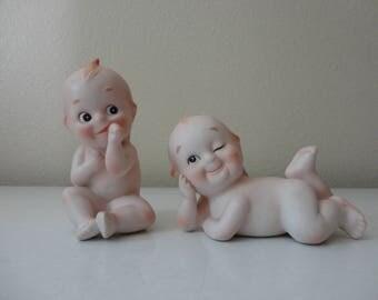 VINTAGE pair of porcelain KEWPIE BABIES - marked kw228