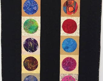 Festival Sale Circles of Deep Reflection 28x42 inch modern quilted wallhanging