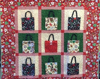 Festival Sale Christmas Shopping 48x48 inch art quilt