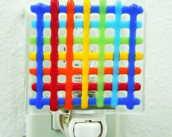 Glassworks Northwest - Rainbow Weave Night Light - Fused Glass Art