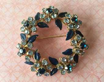 Vintage Blue Rhinestone and Enamel Circle Brooch