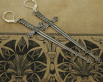 Medieval Sword Earrings Medieval Gothic Earrings weaponry knights sword medieval knights dangle earrings sword jewelry fantasy earrings