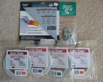 Scor-Pal Lot NIP--Scor-Tape (4 sizes), Scor-Envi Diagonal & Envelope Template, and Scor-Bug