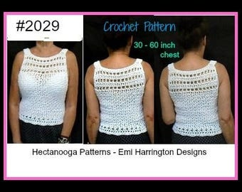 Crochet Pattern  shell top,  women summer sweater, sleeveless pullover, woman, Teens, Plus size ,  Instant download, #2029