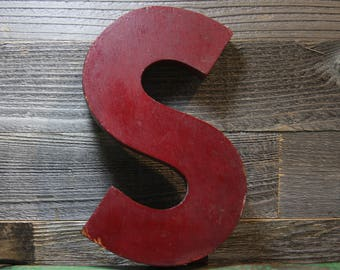 Vintage Letter S- Wooden SIGN LETTER Industrial Initial S- Rustic Painted Red Wood Monogram Letter S- A28